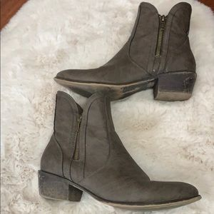 Just Fab grey side zip booties